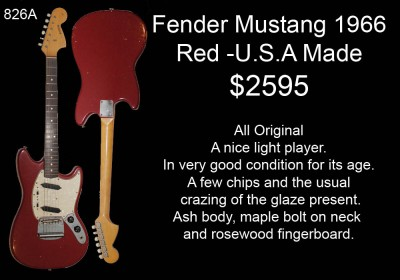 FENDER MUSTANG RED 1966 826