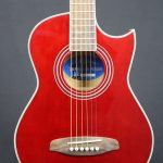 MARTINEZ SMALL-BODY ACOUSTIC-ELECTRIC CUTAWAY TRAVEL GUITAR (WINE RED)
