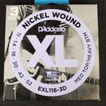 D'Addario' EXL116-3D  Nickel Wound Medium Top/Heavy Bottom 11-52- 3 Pack