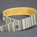 Vorson Linen Fabric Guitar Strap in Grey Horizontal Line Pattern